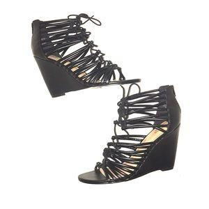 Size 10 Express Wedge Black Strappy Sandal